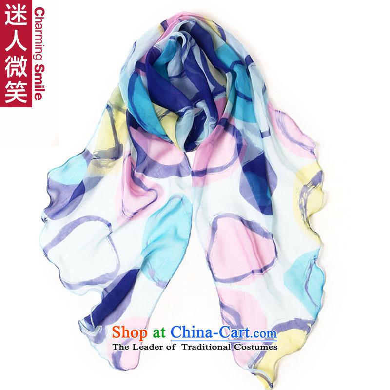The charming smile scarf female masks in Korean asymmetric angled edge length of volume blue silk scarf