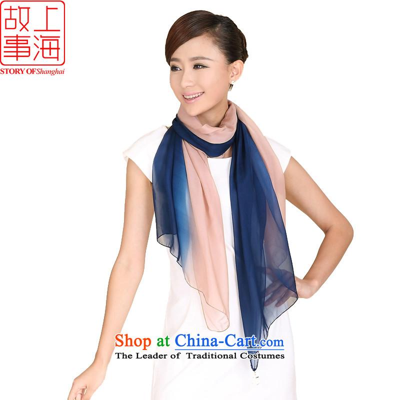Shanghai Story, sunscreen silk scarf beach towel Shanghai knocked color gradients long silk scarfs usual zongzi 194004 Blue