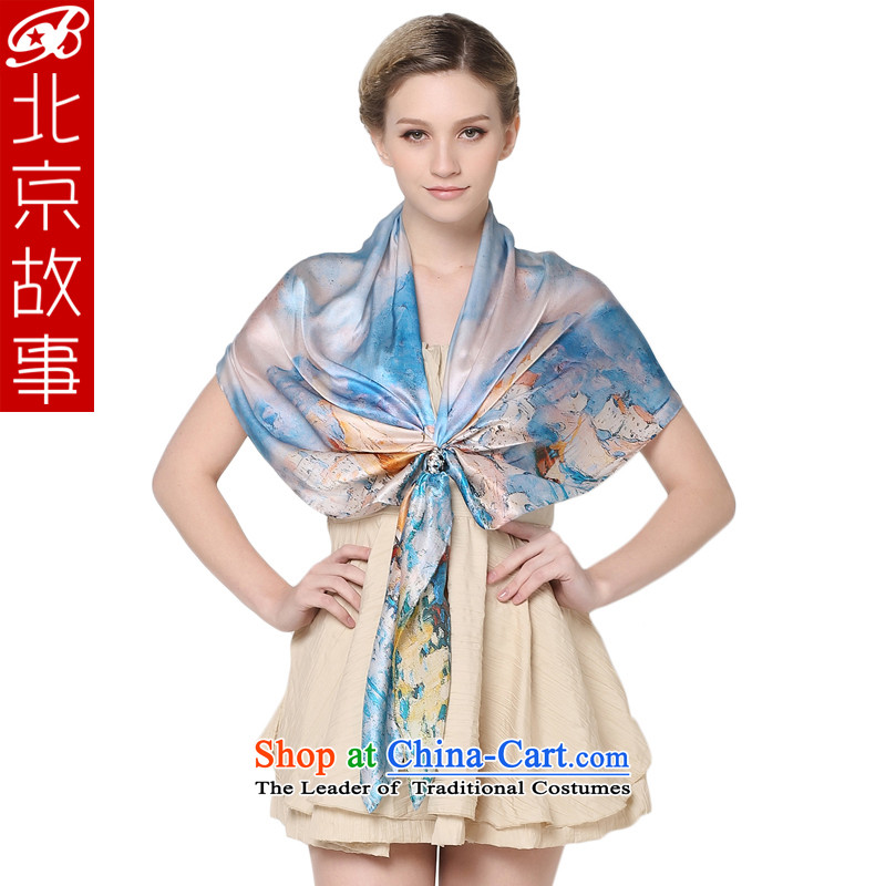Beijing Ms. story herbs extract silk scarves scarf spring and autumn winter stylish Fancy Scarf long silk scarf a female 104017 Blue