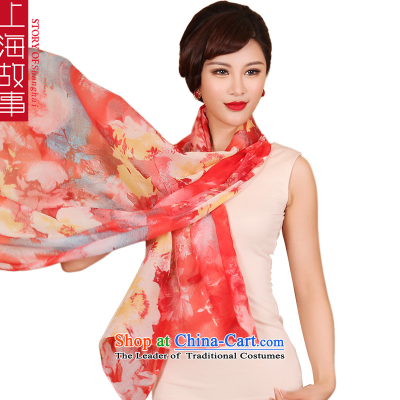 Shanghai Story emulation silk scarves, emulating silk scarf shawl masks in red flower