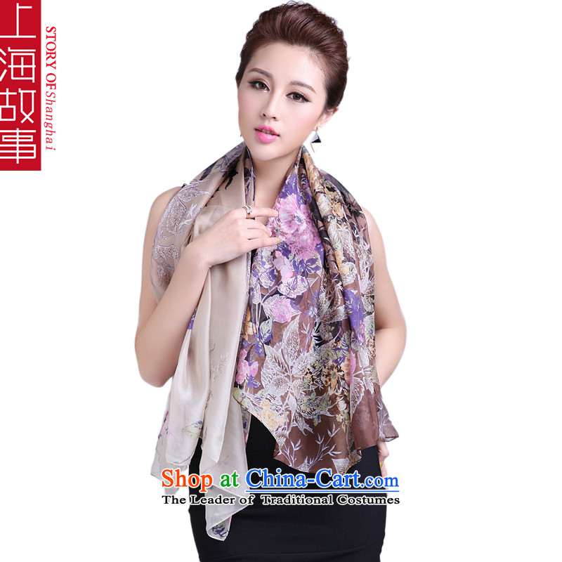 Shanghai Story silk scarf silk scarf and classy, sauna silk shawls masks in Jamsil scarf brown
