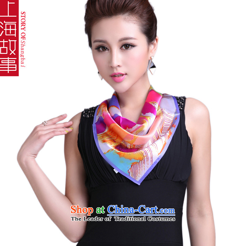 Shanghai Story silk small parties Ms. silk scarf herbs extract upscale gift scarf iris_PURPLE edge