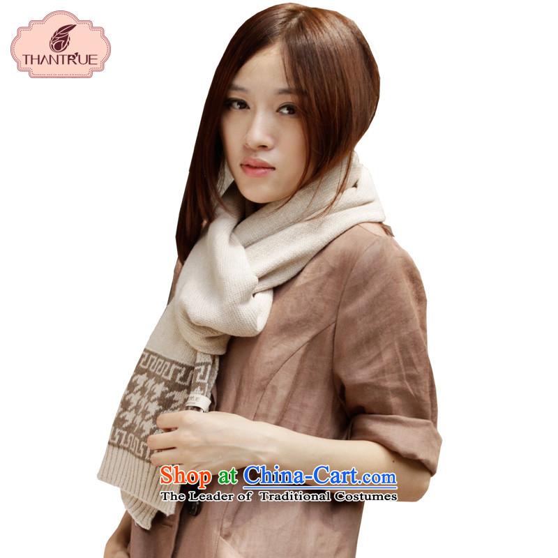 Enjoy winter Ms. scarves really chidori grid Knitting scarves W048 wool beige