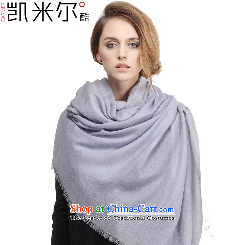 Kemi's core diamond pattern warm pure Cashmere scarf Ms. polester velvet shawl air autumn and winter cold and warm scarves90cm*200cm Silver Gray