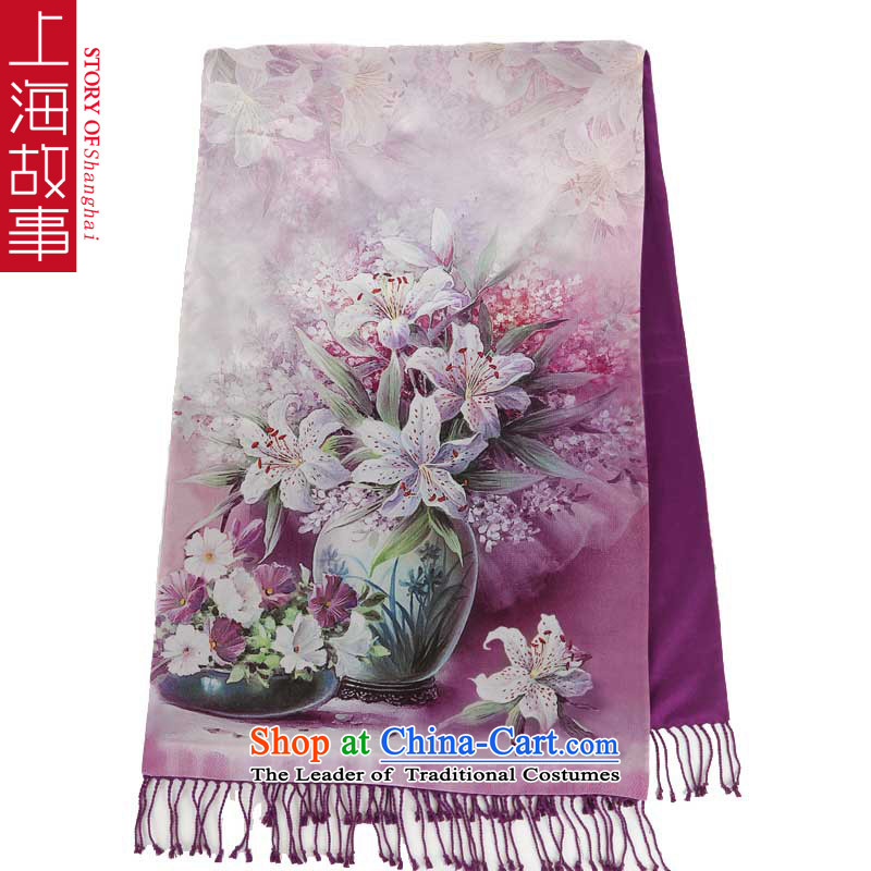 Shanghai Story counters silk brushed double picturesque herbs extract silk scarves women Fancy Scarf velvet scarf 14 Gauge