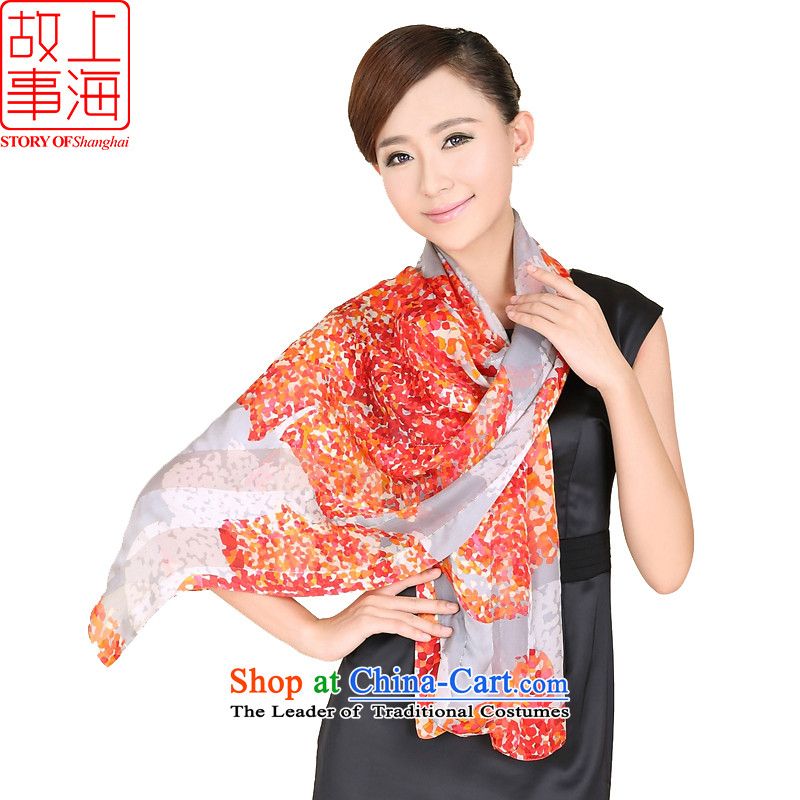 Shanghai Story stylish satin long sunscreen silk scarf beach towel encryption Women Korean style content flowing herbs extract scarf 158063 Gray