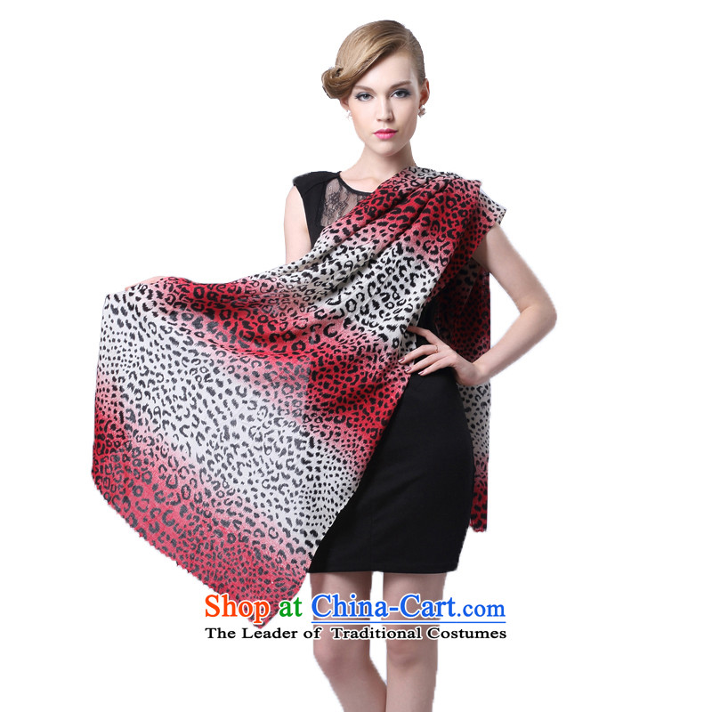 Hang Yuen Cheung-long Fancy Scarf dual-use air conditioning shawl thin shawl spring and autumn gifts (Boxset) wool cashmere texture a gradient leopard point red