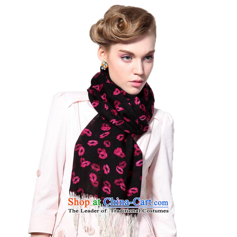 Hengyuan Cheung wool Ms. stamp thin shawl long scarf (Boxset) red lips, Black