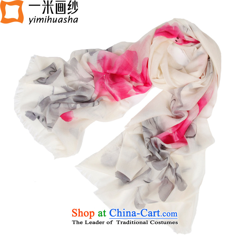 One meter animation yarn pashmina female autumn and winter new 300 hand-painted pashmina shawl ink rings lint-free Peony