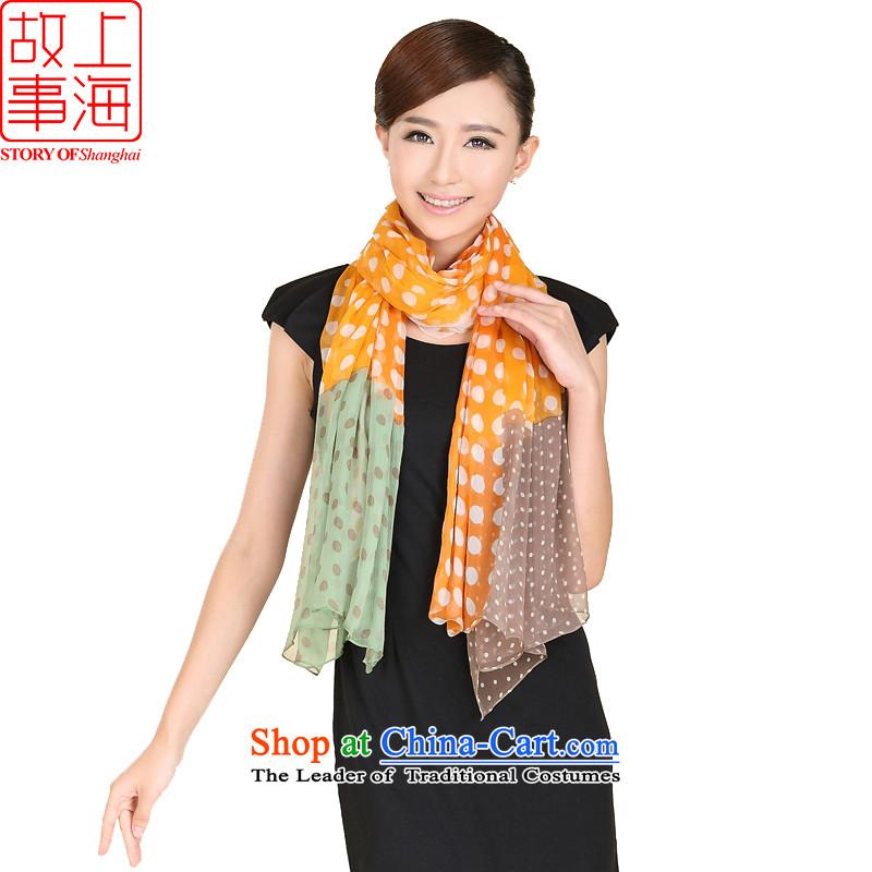 Shanghai Story Autumn Ms. new round dance stitching silk scarf Korean fashion dos Santos, widen the silk long sunscreen silk scarf shawl 149019 orange