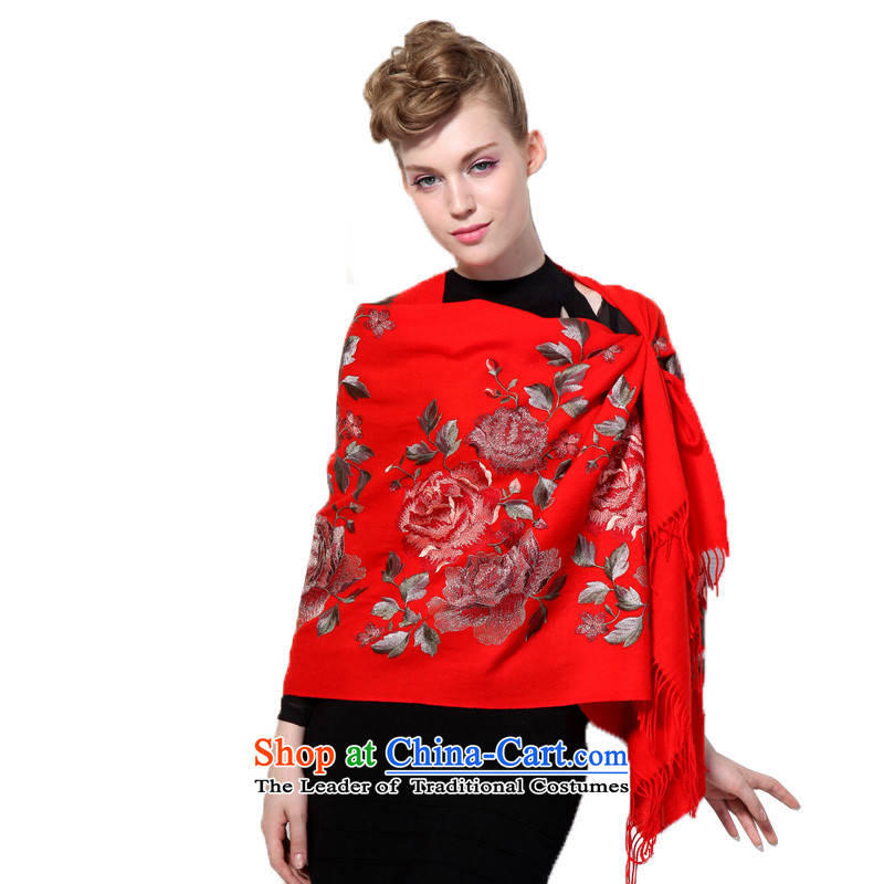 Hengyuan Cheung wool Embroidery Stamp shawl shawl air-conditioning shawl Blooming crazy (Boxset) big red