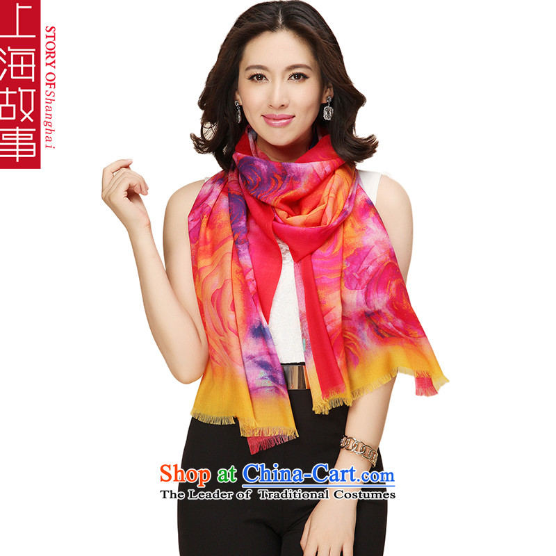 Shanghai Story Pure Wool scarves, autumn and winter shawl a flowers garden 1_