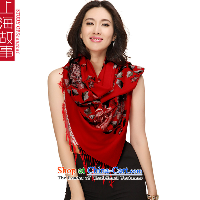 Shanghai Story Pure Wool Scarf Ms. gift autumn and winter ethnic embroidery shawl a large red