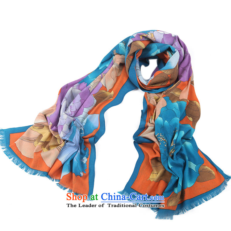 Shanghai Story silk scarves female herbs extract intensify scarf thick shawl peony blue