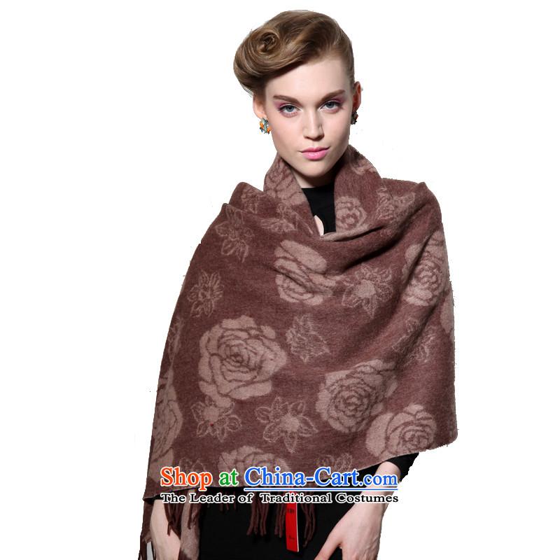 Hengyuan Cheung wool thick Ms. increase long shawl air-conditioning shawl Roses (Boxset) Brown