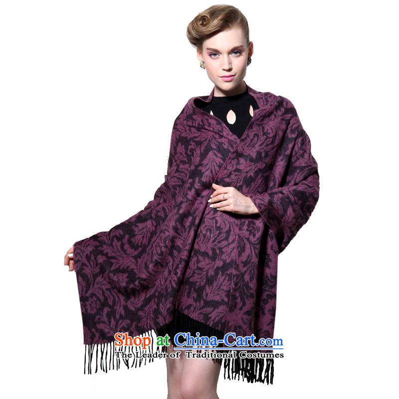 Hengyuan Cheung wool thick Ms. increase long shawl air-conditioning shawl Tang Zhuo flower gift box (purple)