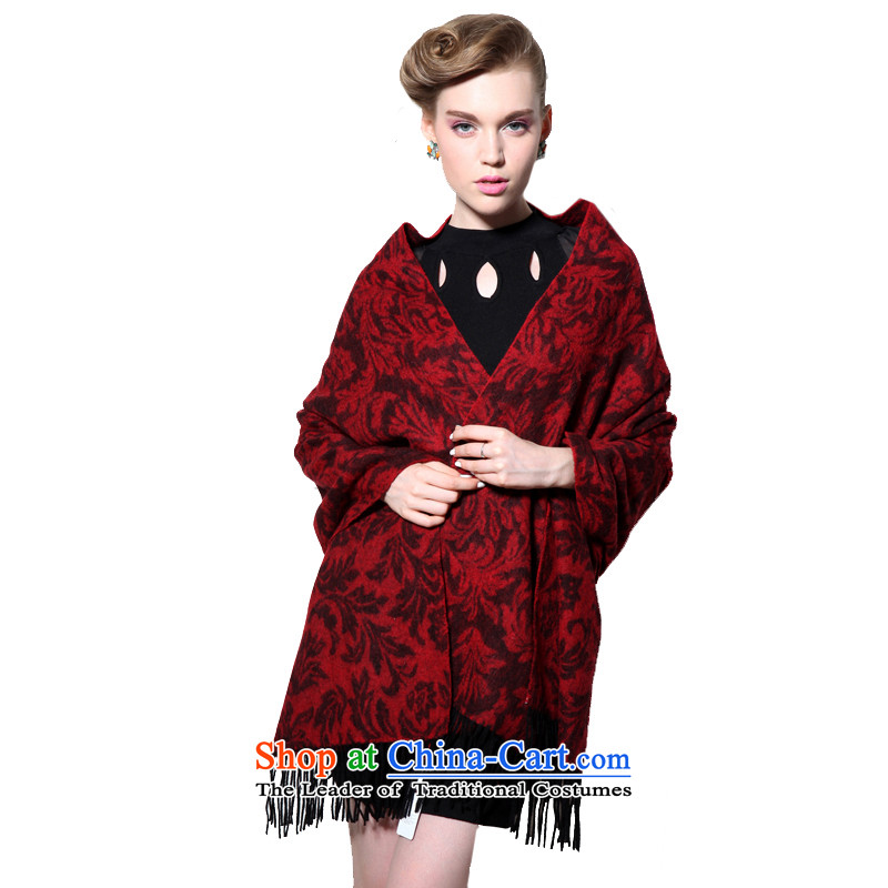 Hengyuan Cheung wool thick Ms. increase long shawl air-conditioning shawl as well as ideal gifts for an elegant and Tang Zhuo Flower (Boxset) Red