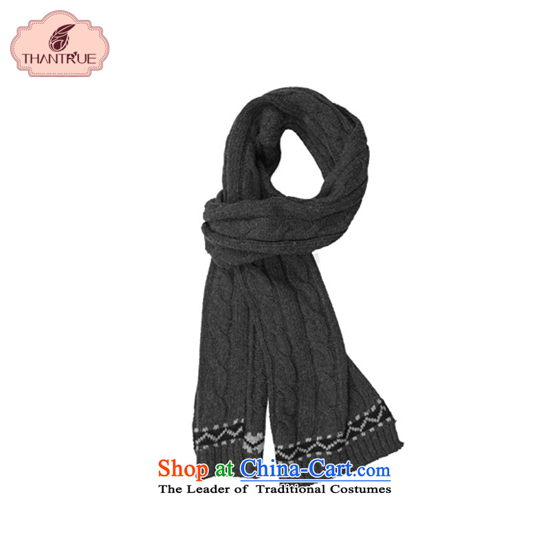 Enjoy a Korean version of true thantrue Ms. Sleek and versatile scarves knitted Autumn and Winter Sweater a student Pure Color Twist W071 Carbon