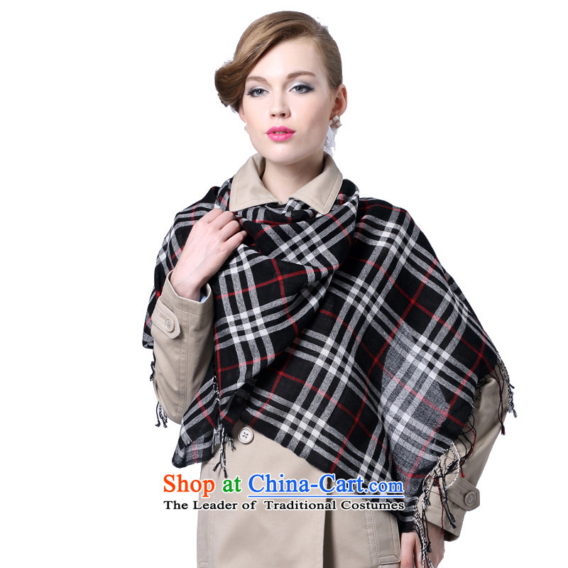 Hang Yuen Cheung-long Fancy Scarf use two shawls thin shawl gifts _Boxset_ wool cashmere texture Plaid Print a small, black