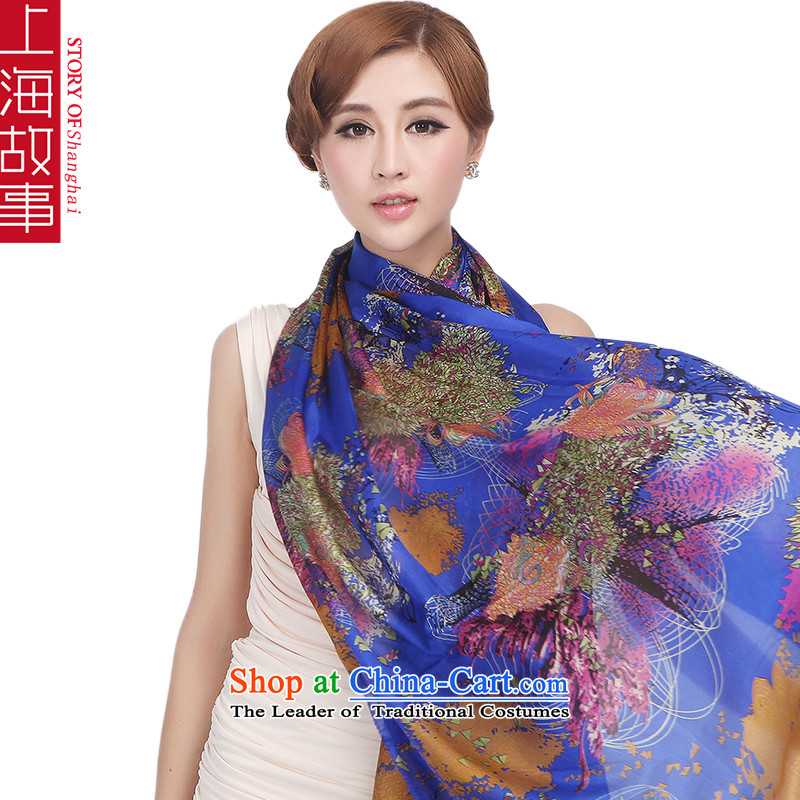 Shanghai Story silk scarves Ms. herbs extract Fancy Scarf long masks in the autumn and winter 24# blue accents