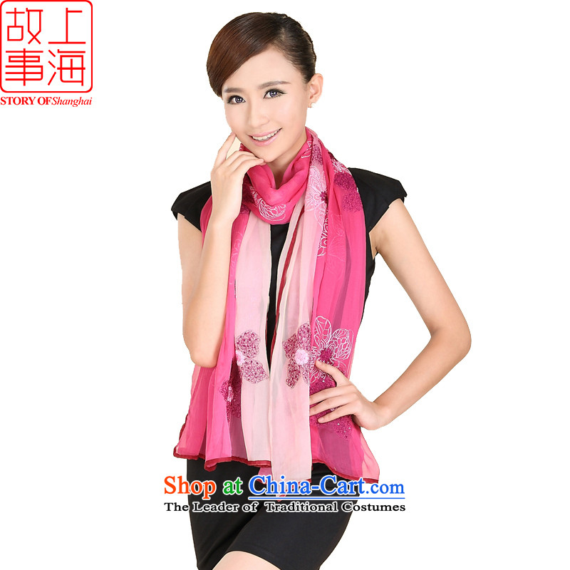 Shanghai Story new embroidery sunscreen silk scarf beach towel stylish gradient long silk scarfs 176026 in red