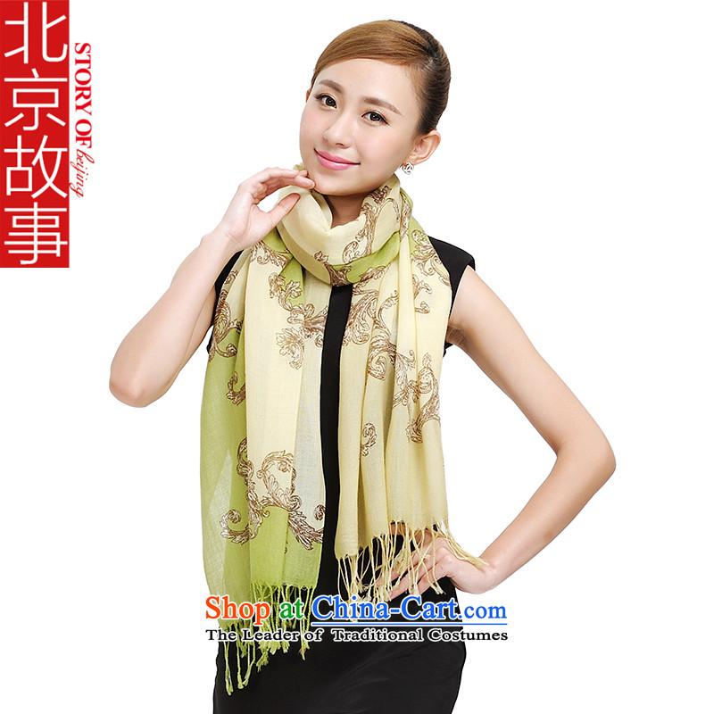 Beijing story autumn and winter female new Pure Wool scarf idyllic temperament warm shawl 185055 177012 stamp longgreen
