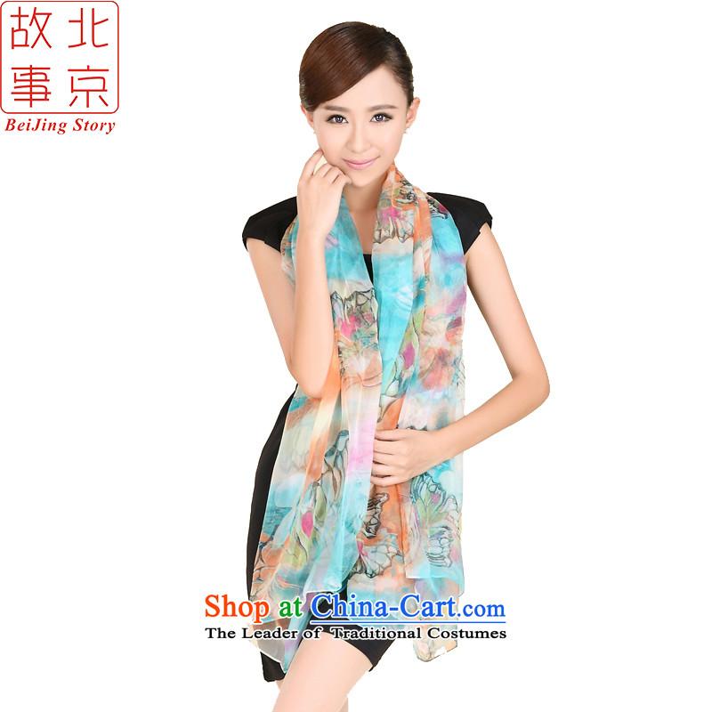 Beijing New story silk scarves broadening Ms. stamp herbs extract silk long silk scarf 185035 Blue