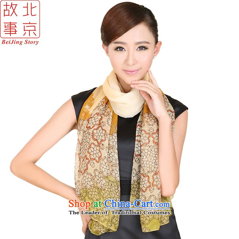 Beijing New story modern dance course widen scarf Korea Ms. Princess retro saika long silk scarf 167047 Beige