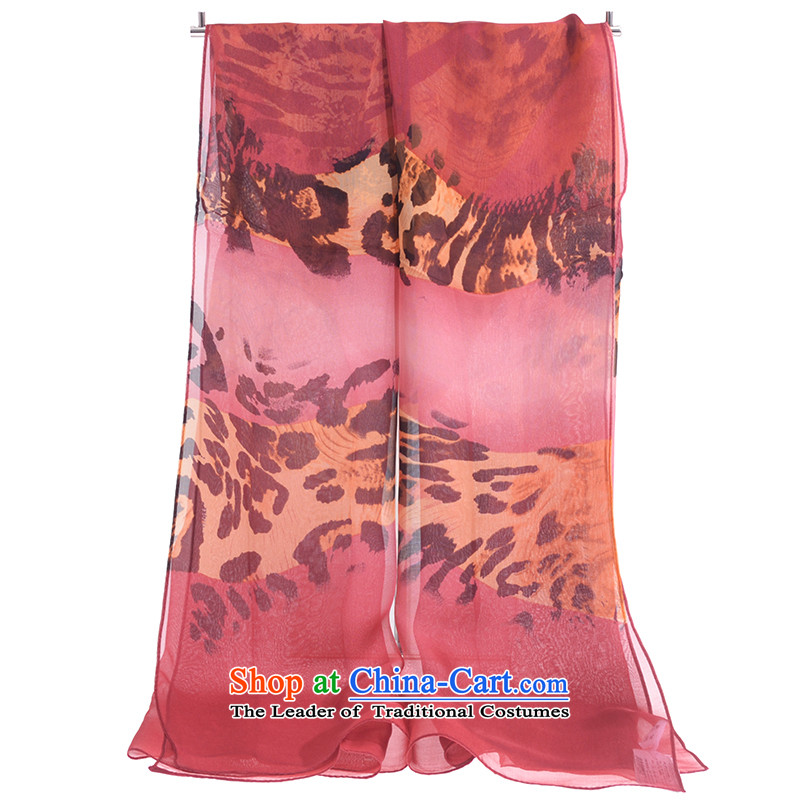 Jiga herbs extract sunscreen silk scarf silk long female Leopard Stamp silk scarf scarf small long towel SK030 rubber red