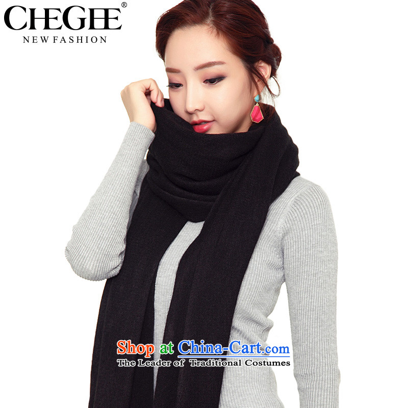 Anthology of autumn and winter woolen scarves CHEGEE knitted cardigans thick warm Solid Color Knitting scarves men and women intensify shawl couples, Black
