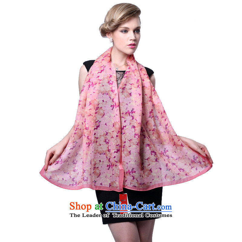 Hengyuan Cheung stamp wool Ms. herbs extract thin scarf silk scarf (Boxset) Flowers dancing Pink