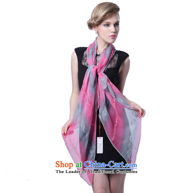 Hengyuan herbs extract embroidery Ms. Cheung scarf herbs extract silk scarf _Boxset_ gradient aeros be red
