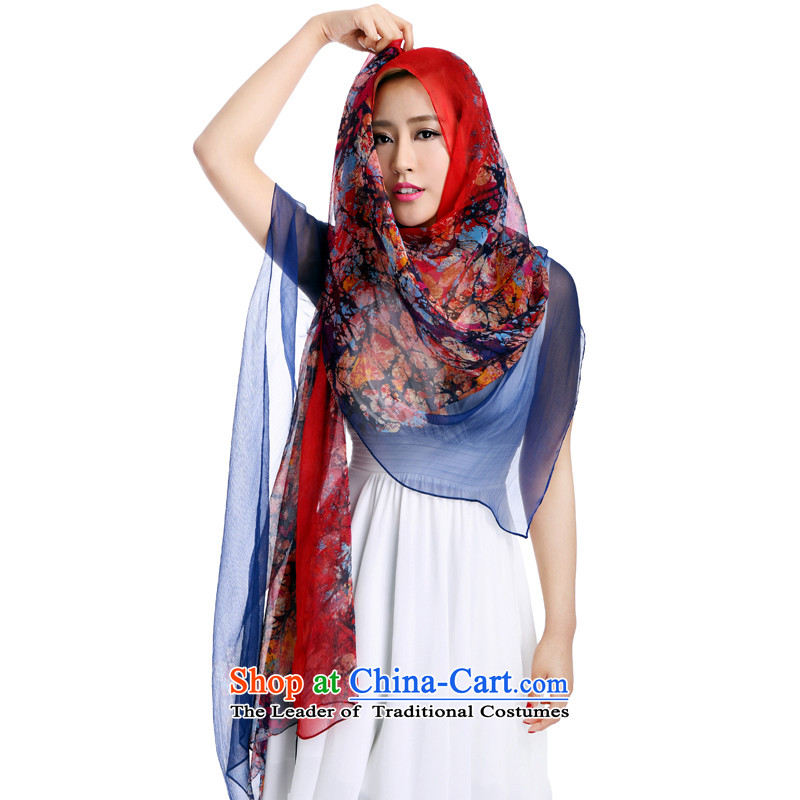 Ho Shih rain spring blossoms bloom silk scarf herbs extract scarf LSY690049 blue are code