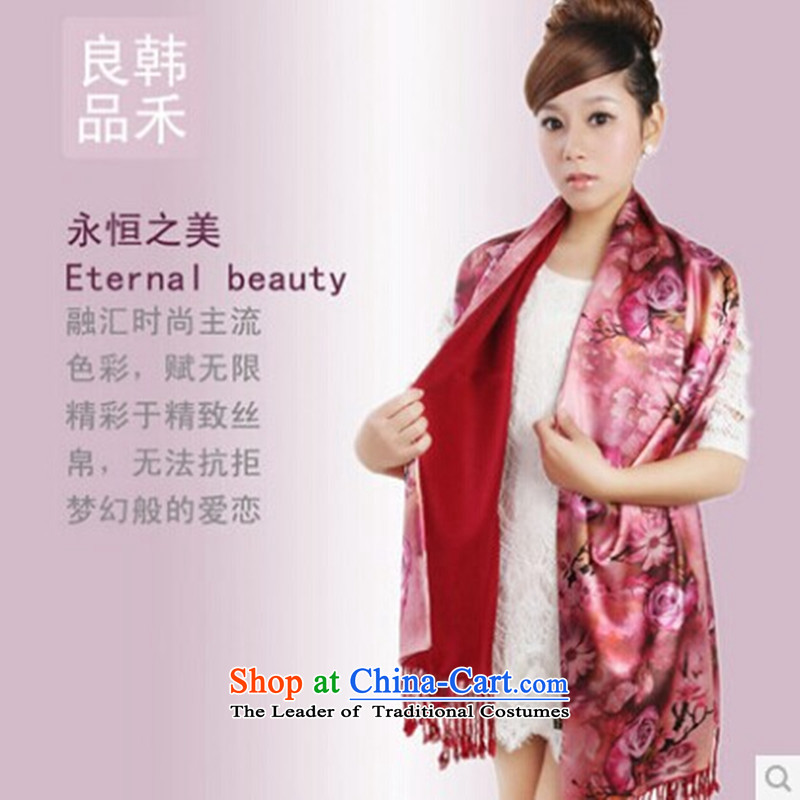 Korea wo autumn and winter, heavyweight digital fabric silk scarf upscale edging, female scarf Gift Box Package Mail No. 1