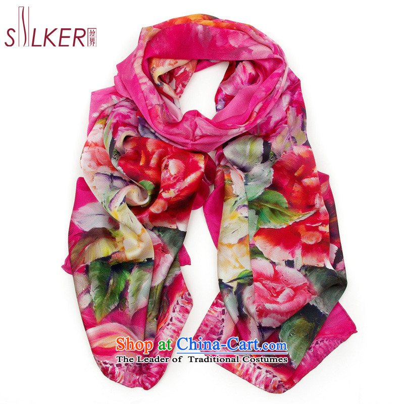 The population sector SIGI silk scarf 100% Ms. herbs extract silk scarf gift silk scarf flower Monogatari 4 color