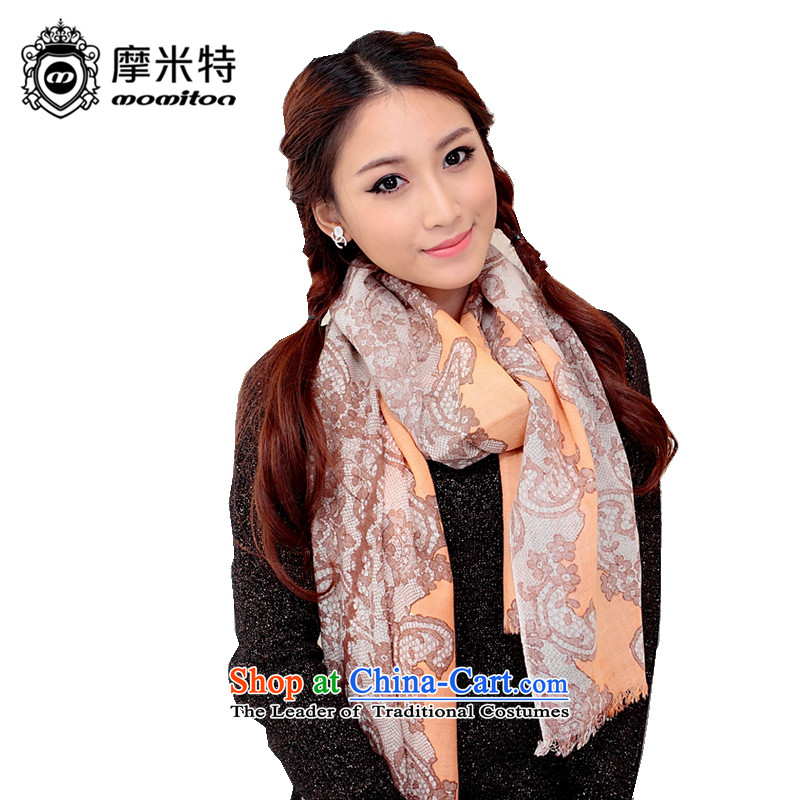 American Samoa MOMITON the autumn and winter Ms. wooler scarf Warm Big stamp shawl exotic brown orange are code