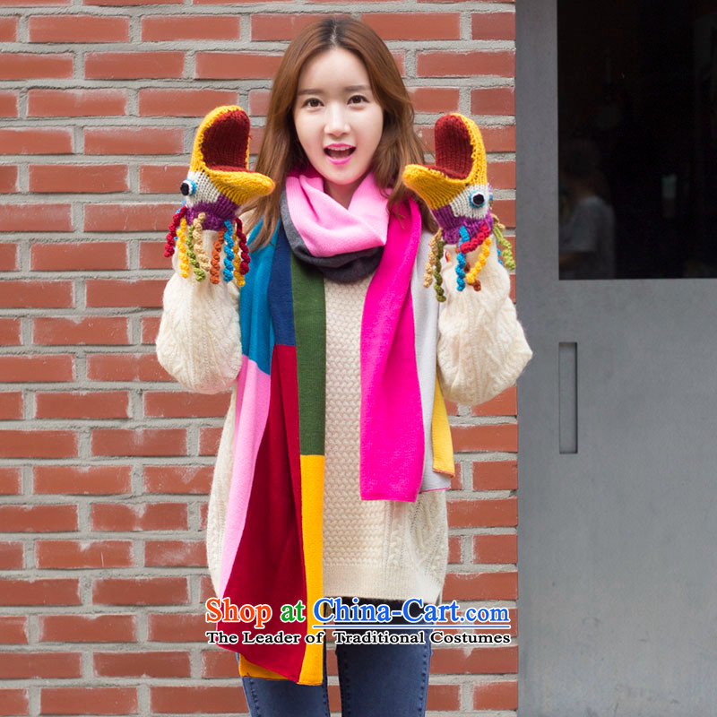 Pink sheep new Ms. Winter wild spell color Knitting scarves Carmine聽220_58cm Figure Color