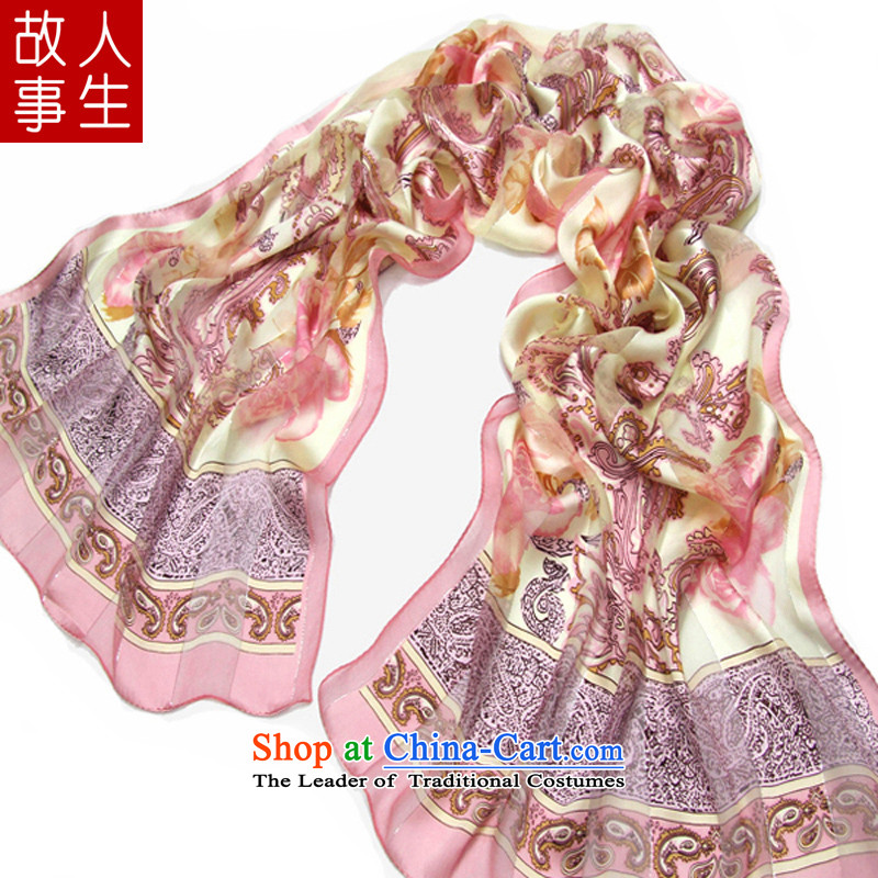 Silk Satin purple mists stamp silk scarf100 herbs extract scarf silk scarf Korean minimalist silk scarf6#