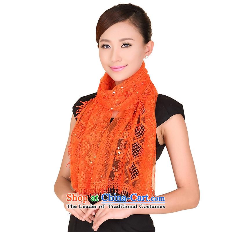 Shanghai Story stylish light slice shining goddess of the scarf debris population shawl 158073 blossoms orange