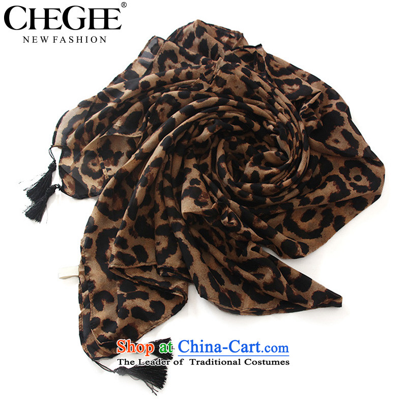 Anthology of new CHEGEE leopard silk scarf pendants stylish decor, silk scarf shawl intensify yellow leopard