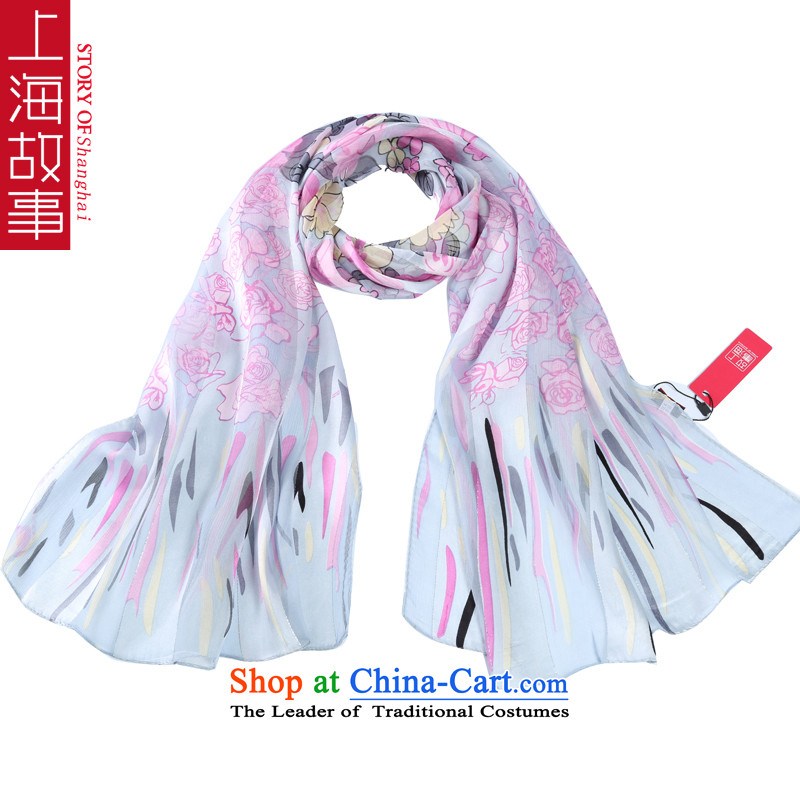 Shanghai Story satin rose herbs extract silk scarves female scarf sunscreen shawl gray Little Flowers