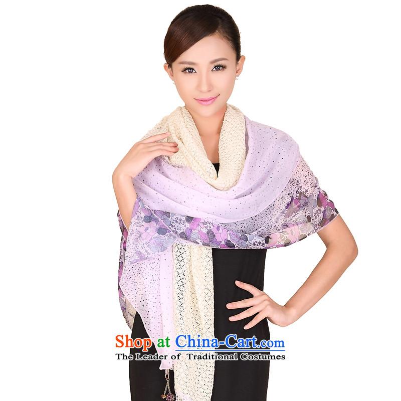 Shanghai Story chiffon lace stitching stylish ultra-long on-chip scarves women cape 167067 3 Purple