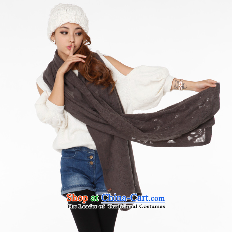 The new Korean female Autumn and Winter Sweater warm a skeleton pattern long Knitting scarves gray are code