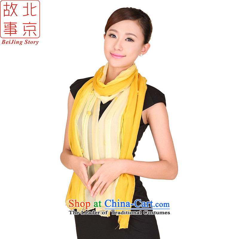 Beijing story scarves, herbs extract variable Color Blossoms stamp gradient silk scarves 167001 manually yellow