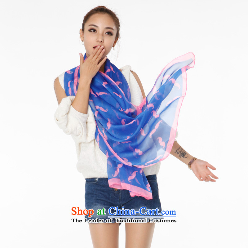In spring and autumn, Turandot spirit new Korean silk scarf chiffon moustache pattern scarf warm and stylish long blue towel