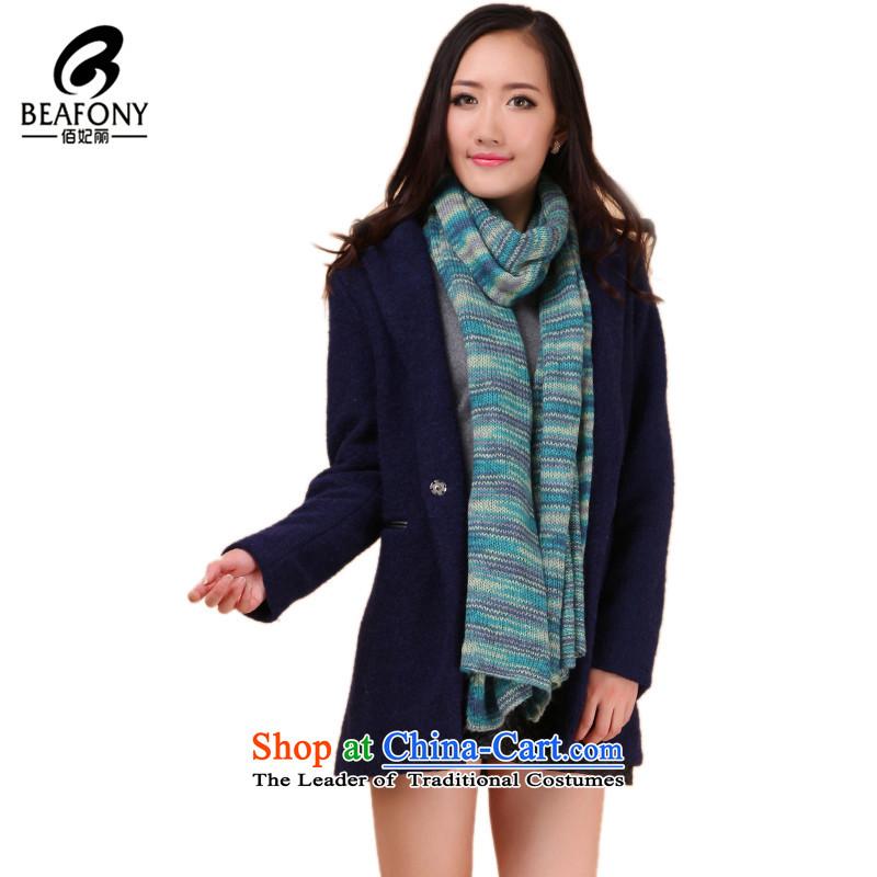 Bai Fei Li stylish stitching streaks, thick oversized warm blue聽200_50cm wj049 scarf