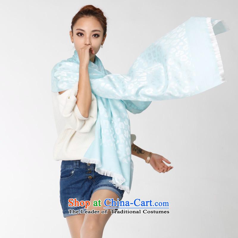 Turin, Turandot new Korean Leopard point emulation silk scarfs warm comfortable silk scarf evaporated milk blue