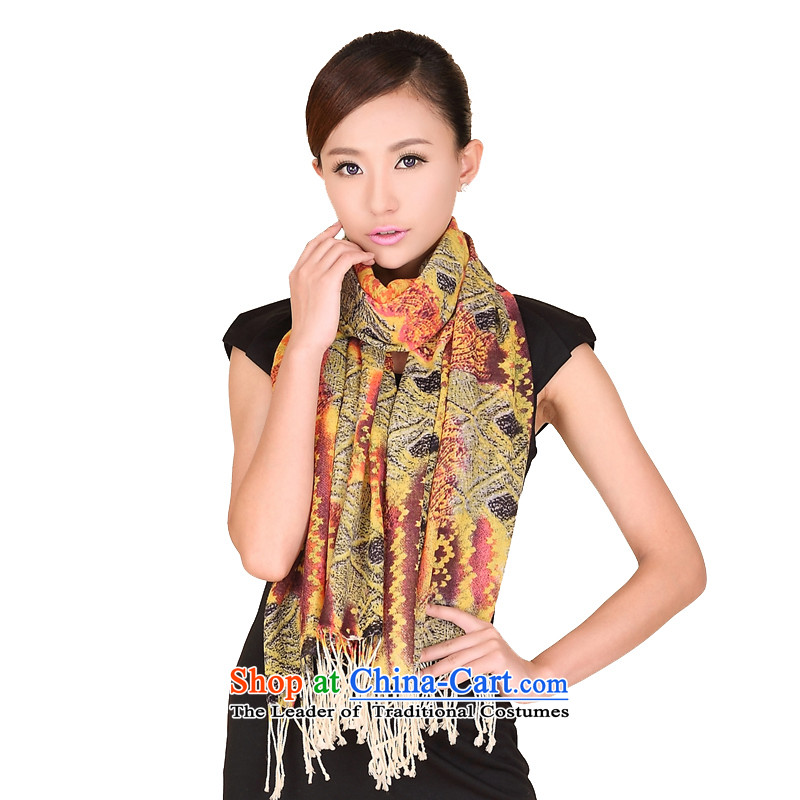 Shanghai Story Shanghai autumn and winter, woolen shawl stamp Pure Wool scarf 184044 194044 warm yellow color coffee