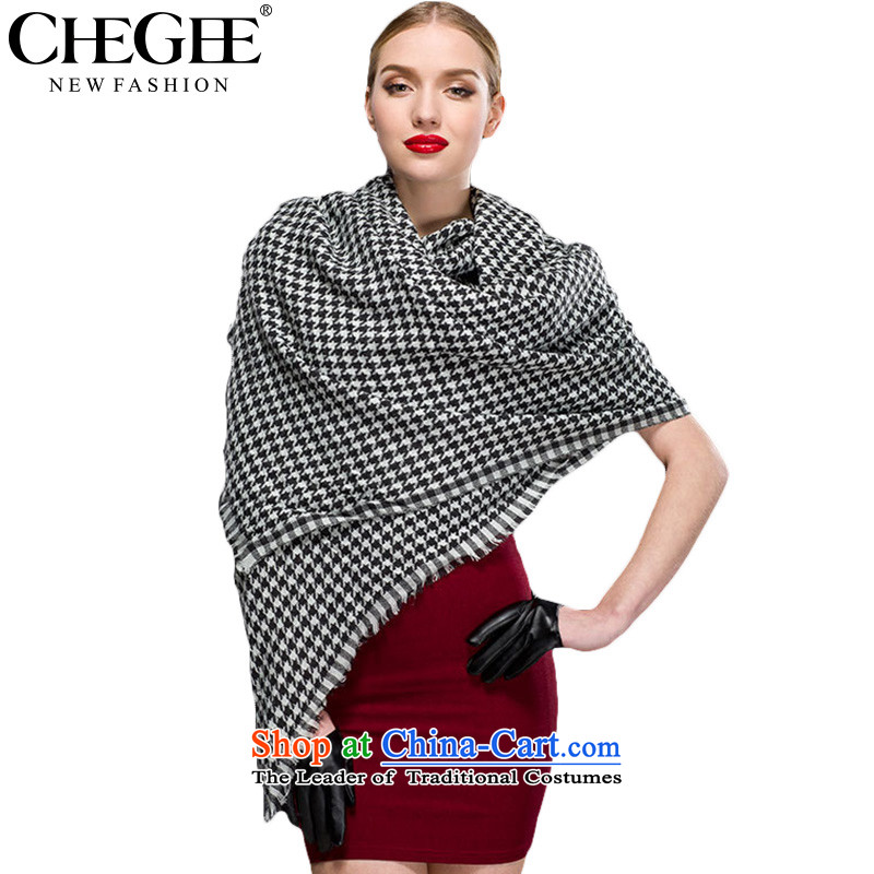 Anthology of thousands of birds of CHEGEE emulation black and white checkered pashmina shawl grand autumn and winter new women's black-and-white chidori Grid