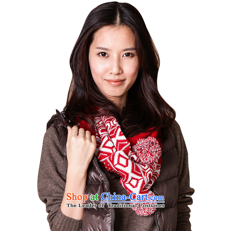 As Ms. scarves knitted scarf Korean autumn and winter warm L13FC355 Thick Red